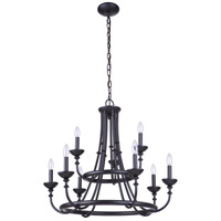 Craftmade 53729-FB Marlowe 9 Light 30 inch Flat Black Chandelier Ceiling Light