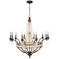 Cortana 10 Light 38 inch Peruvian Bronze Chandelier Ceiling Light