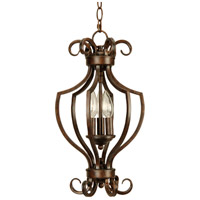 Cecilia 3 Light 11 inch Peruvian Bronze Foyer Light Ceiling Light in Amber Frost Glass, Cage
