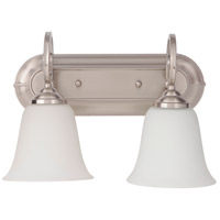 Cecilia 2 Light 14 inch Brushed Satin Nickel Vanity Light Wall Light in Brushed Nickel, White Frosted Glass, Jeremiah
