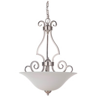 Craftmade 7118BNK3-WG Cecilia 3 Light 18 inch Brushed Satin Nickel Inverted Pendant Ceiling Light in Brushed Nickel, White Frosted Glass, Jeremiah