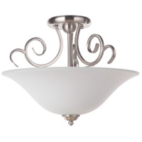 Cecilia 3 Light 18 inch Brushed Satin Nickel Semi-Flushmount Ceiling Light in Brushed Nickel, White Frosted Glass, Jeremiah