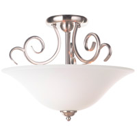 Cecilia 3 Light 18 inch Brushed Satin Nickel Semi Flush Mount Ceiling Light in Brushed Nickel, White Frosted Glass, Jeremiah
