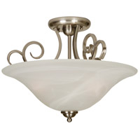 Cecilia 3 Light 18 inch Brushed Nickel Semi-Flush Ceiling Light in Alabaster Glass