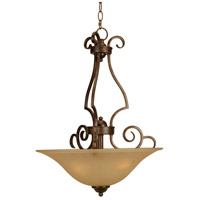 Craftmade 7118PR3 Cecilia 3 Light 18 inch Peruvian Bronze Inverted Pendant Ceiling Light in Amber Frost Glass