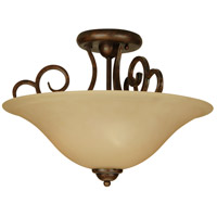 Cecilia 3 Light 18 inch Peruvian Bronze Semi Flush Mount Ceiling Light in Amber Frost Glass