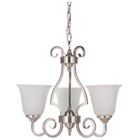 Craftmade 7120BNK3-WG Cecilia 3 Light 20 inch Brushed Satin Nickel Chandelier Ceiling Light in Brushed Polished Nickel, White Frosted Glass, Jeremiah