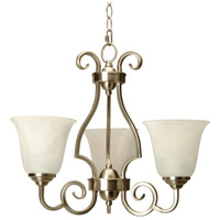 Cecilia 3 Light 20 inch Brushed Nickel Chandelier Ceiling Light in Alabaster Glass
