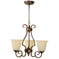 Cecilia 3 Light 20 inch Peruvian Bronze Chandelier Ceiling Light in Amber Frost Glass