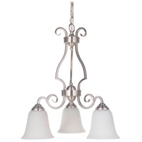 Craftmade 7121BNK3-WG Cecilia 3 Light 20 inch Brushed Satin Nickel Down Chandelier Ceiling Light in Brushed Polished Nickel, White Frosted Glass, Jeremiah