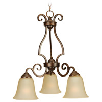 Craftmade 7121PR3 Cecilia 3 Light 20 inch Peruvian Bronze Down Chandelier Ceiling Light in Amber Frost Glass