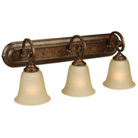 Cecilia 3 Light 24 inch Peruvian Bronze Vanity Light Wall Light in Amber Frost Glass