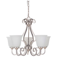 Cecilia 5 Light 24 inch Brushed Satin Nickel Chandelier Ceiling Light in Brushed Nickel, White Frosted Glass, Jeremiah