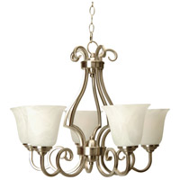 Craftmade 7124BNK5 Cecilia 5 Light 24 inch Brushed Satin Nickel Chandelier Ceiling Light in Brushed Nickel, Alabaster Glass