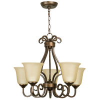 Craftmade 7124PR5 Cecilia 5 Light 24 inch Peruvian Bronze Chandelier Ceiling Light in Amber Frost Glass
