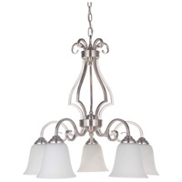 Craftmade 7125BNK5-WG Cecilia 5 Light 24 inch Brushed Satin Nickel Down Chandelier Ceiling Light in Brushed Polished Nickel, White Frosted Glass, Jeremiah