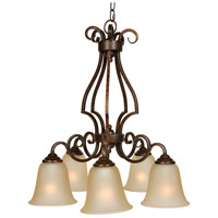 Craftmade 7125PR5 Cecilia 5 Light 24 inch Peruvian Bronze Down Chandelier Ceiling Light in Amber Frost Glass