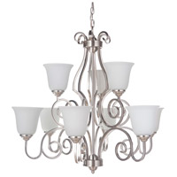 Craftmade 7131BNK9-WG Cecilia 9 Light 32 inch Brushed Satin Nickel Chandelier Ceiling Light in Brushed Polished Nickel, White Frosted Glass, Jeremiah