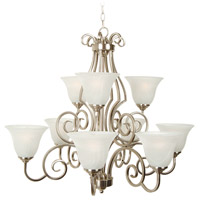 Cecilia 9 Light 32 inch Brushed Satin Nickel Chandelier Ceiling Light in Brushed Nickel, Alabaster Glass