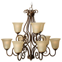 Craftmade 7131PR9 Cecilia 9 Light 32 inch Peruvian Bronze Chandelier Ceiling Light in Amber Frost Glass