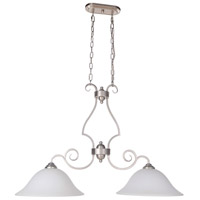 Cecilia 2 Light 36 inch Brushed Satin Nickel Island Light Ceiling Light in Brushed Polished Nickel, White Frosted Glass, Jeremiah