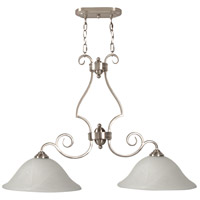 Cecilia 2 Light 36 inch Brushed Satin Nickel Island Light Ceiling Light in Brushed Nickel, Alabaster Glass