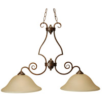 Cecilia 2 Light 36 inch Peruvian Bronze Island Light Ceiling Light in Amber Frost Glass