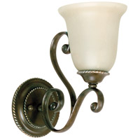 Mia 1 Light 6 inch Aged Bronze and Vintage Madera Wall Sconce Wall Light in Tea-Stained Glass