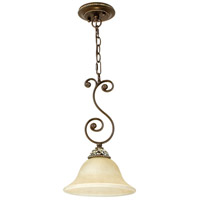 Mia 1 Light 10 inch Aged Bronze and Vintage Madera Mini Pendant Ceiling Light in Tea-Stained Glass