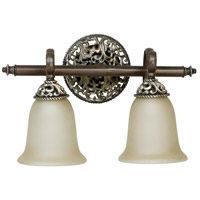 Mia 2 Light 17 inch Aged Bronze and Vintage Madera Vanity Light Wall Light in Tea-Stained Glass