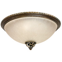 Mia 3 Light 17 inch Aged Bronze and Vintage Madera Flush Mount Ceiling Light in Tea-Stained Glass