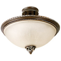Mia 3 Light 17 inch Aged Bronze and Vintage Madera Semi Flush Mount Ceiling Light in Tea-Stained Glass