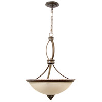 Craftmade 7520AGVM3 Mia 3 Light 20 inch Aged Bronze and Vintage Madera Inverted Pendant Ceiling Light in Tea-Stained Glass