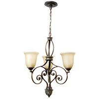 Mia 3 Light 24 inch Aged Bronze and Vintage Madera Chandelier Ceiling Light in Tea-Stained Glass