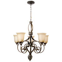 Mia 5 Light 27 inch Aged Bronze and Vintage Madera Chandelier Ceiling Light in Tea-Stained Glass