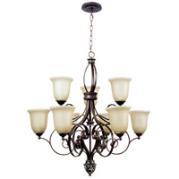 Mia 9 Light 32 inch Aged Bronze and Vintage Madera Chandelier Ceiling Light in Tea-Stained Glass