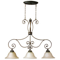 Mia 3 Light 35 inch Aged Bronze and Vintage Madera Island Pendant Ceiling Light in Tea-Stained Glass