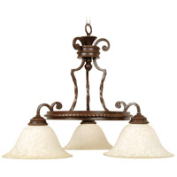 Riata 3 Light 28 inch Aged Bronze Textured Chandelier Ceiling Light in Antique Scavo Glass