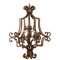 Riata 12 Light 33 inch Aged Bronze Textured Foyer Light Ceiling Light, Cage