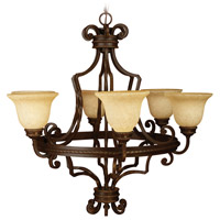 Riata 6 Light 35 inch Aged Bronze Textured Chandelier Ceiling Light in Antique Scavo Glass