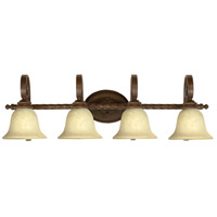 Craftmade 8136AG4 Riata 4 Light 37 inch Aged Bronze Textured Vanity Light Wall Light in Antique Scavo Glass