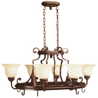 Riata 10 Light 39 inch Aged Bronze Textured Pot Rack Ceiling Light in Antique Scavo Glass
