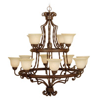 Craftmade 8144AG12 Riata 12 Light 44 inch Aged Bronze Textured Chandelier Ceiling Light in Antique Scavo Glass