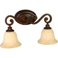 Craftmade 9121PR2 Toscana 2 Light 21 inch Peruvian Bronze Vanity Light Wall Light in Antique Scavo Glass