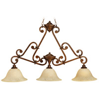 Toscana 3 Light 44 inch Peruvian Bronze Island Light Ceiling Light in Antique Scavo Glass