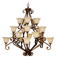 Craftmade 9152PR20 Toscana 20 Light 52 inch Peruvian Bronze Chandelier Ceiling Light in Antique Scavo Glass