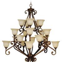 Craftmade 9152PR20 Toscana 20 Light 52 inch Peruvian Bronze Chandelier Ceiling Light in Antique Scavo Glass