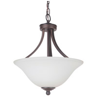 Portia 2 Light 16 inch Metropolitan Bronze Semi Flush Ceiling Light in White Frosted Glass