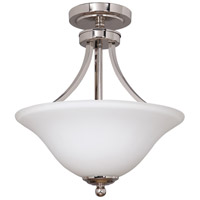 Portia 2 Light 16 inch Polished Nickel Convertible Semi-Flush Pendant Ceiling Light in White Frosted Glass