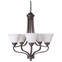 Portia 5 Light 27 inch Metropolitan Bronze Chandelier Ceiling Light in White Frosted Glass